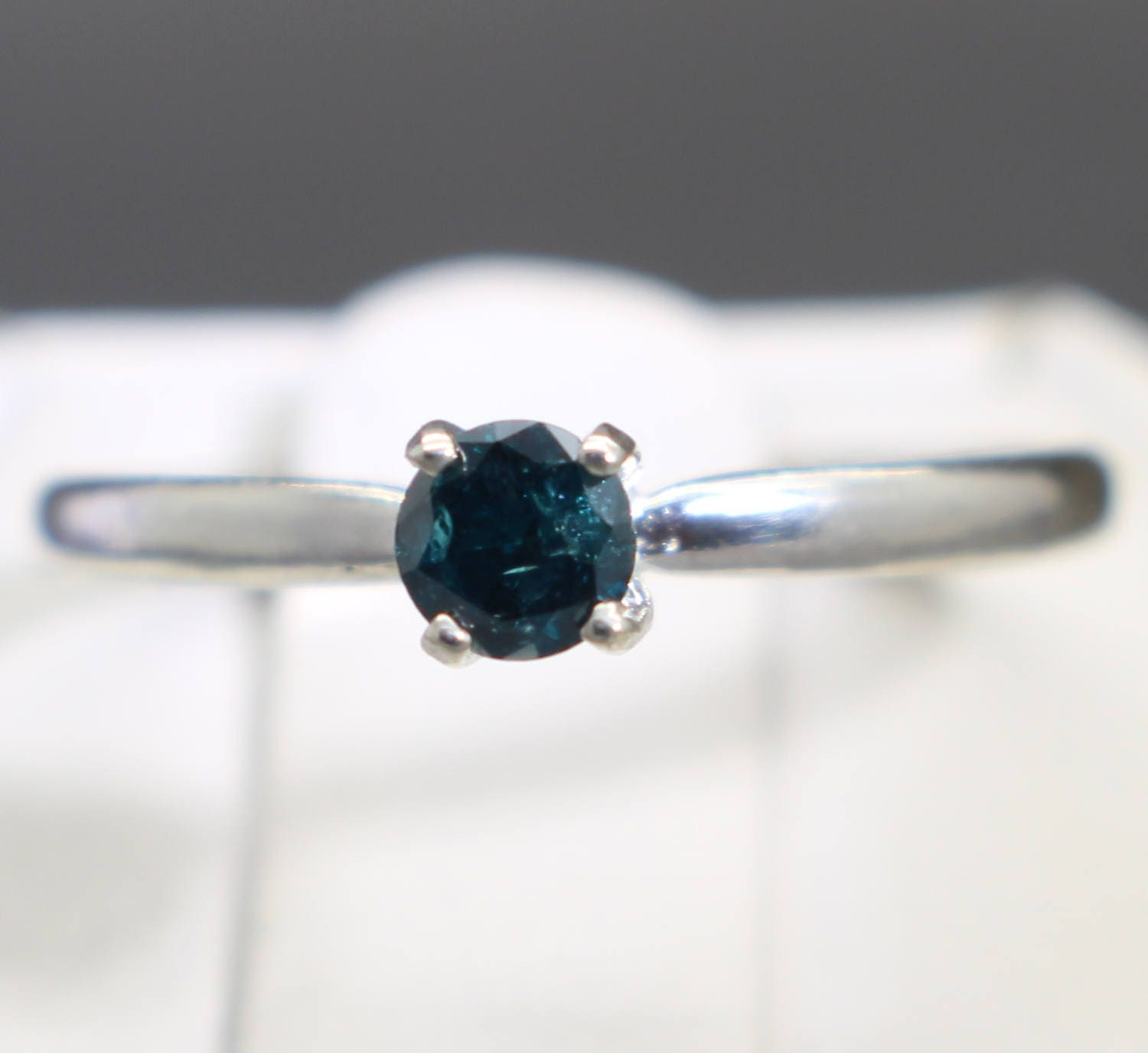 0 18cts 3 66mm Rare Dark Blue Diamond Engagement Ring Graded and