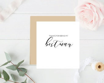 Thank you for being my Best Man- Rose Gold Foil Card