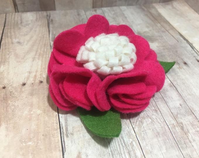 "3"" Fuscia and White Felt Flower | Flower for Dog Collar | Medium/Large Dog | CupcakePups"