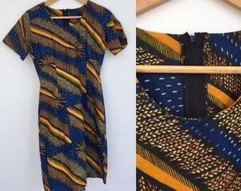 Vintage Dress, African Print Dress, Wiggle Dress, Short Sleeved Dress, Blue Dress, Size X S