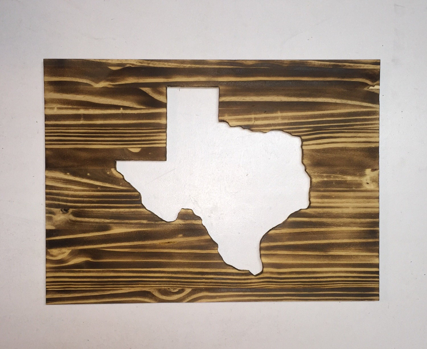 Rustic State Of Texas Reverse Cutout Wall Art Home Decor Made