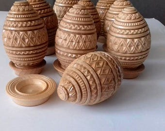 Hand carved wooden Ukrainian Egg with Stand, varnished/ PYSANKY EGGS