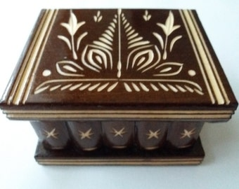 New cute handmade brown wooden secret magic puzzle jewelry ring holder box gift toy for kids