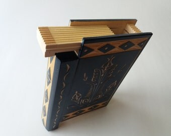 Big huge blue magic misterious wizard puzzle book box with secret compartment inside surprise handmade wooden hidden jewelry storage box