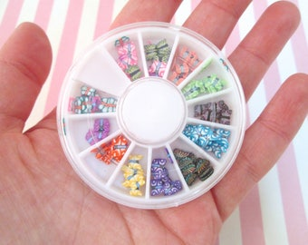 Assorted Polymer Clay Butterfly Slices, Nail Art Wheel, Over 120 pieces