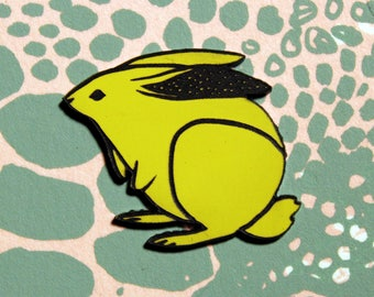 Rabbit Pin, yellow and black, laser cut acrylic