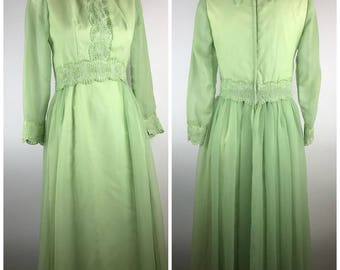 Vintage Green Dress Maxi Sheer Sleeves Floral 1960s Mod Easter Spring Chiffon Pastel Unique Point Collar Floral Trim Full Length
