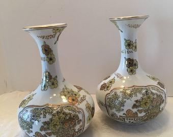 Gold Imari Vase ~ Set of Two ~ Japan ~ Hand painted ~ Japanese Porcelain ~ Vintage