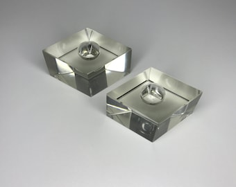 set of two mid century leaded crystal candleholders