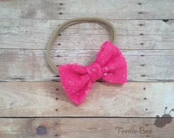 Valentines Day Sequin Bow Nylon Headband - Valentines Day headband - Sequin Hair Bow - Glitter Bow Nylon Headband - Glitter Hair Bow - Spark