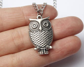 Antique Silver Owl Necklace,owl Jewelry,owl Pendant Necklace,animal Necklace,bird Jewelry,girlfriend