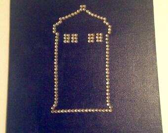 Glitzy Rhinestone Doctor Who TARDIS Canvas