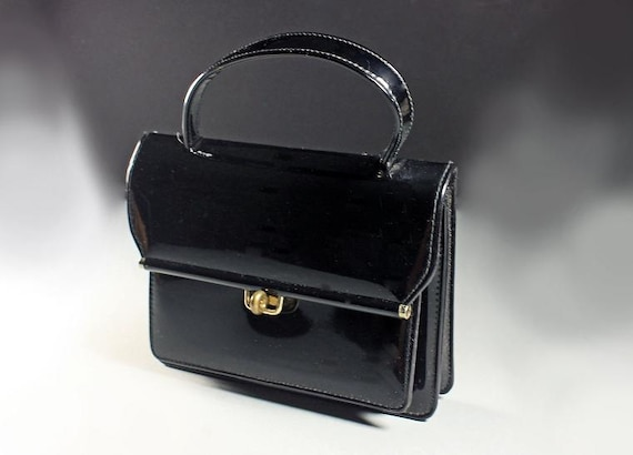 Black Patent Handbag, Top Handle, Faux Leather, 2 Open Compartments, Zippered Side Compartment, Turn Key Closure, Small Bag