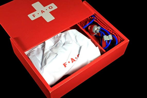 FAO Schwarz Doctors Kit, Toy, Red Wooden Box, Doctors White Jacket, Stethoscope, Collectible