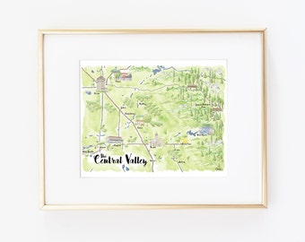 Hand Drawn California Map Wall Hanging Home Decor | Military Gift, NAS Lemoore Station, Sequoia Park | Watercolor Print Central Valley 8x10""