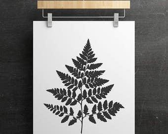 Fern Leaf - PRINTABLE FILE. Graphic Plant Print. Botanical Illustration. Black White Leaf Wall Décor. Modern Minimal Art. Nature Print.