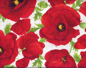 Poppy Floral Red White Curtain Valance