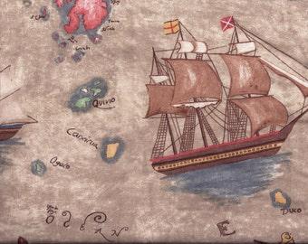 Ships Sailing Tan Curtain Valance