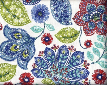 Red Blue White Green Floral Curtain Valance