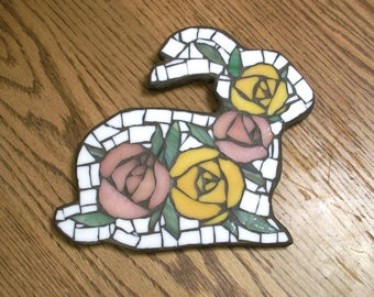 7.75x8.75 inch Pink Peach and Orange Rose Rabbit Mosaic Wall Art Plaque,Roses,flowers,glass on wood,bunny,flower,Shabby Chic,Country,Pastel