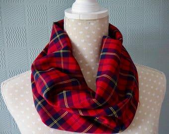 Red tartan snood, red tartan cowl, red plaid loop scarf, red tartan neck warmer