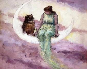 """Frederick Church """"The Witch's Daughter"""" 1881 Reproduction Digital Print Vintage Decor Woman and Owl Sitting on Crescent Moon"""