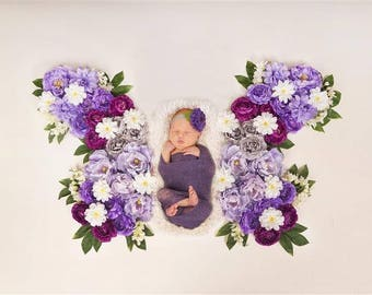 Digital Newborn Backdrop Spring Purple Butterfly. One of a kind prop!