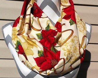 Christmas Scarf, Infinity Scarf, Womens Scarves, Fashion Scarves, Accessories, Gift, Poinsettia Loop Scarf, Circle Scarf, Ladies Clothing,