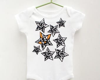 Modern Baby Outfit, Baby Onesie with Stars, Baby Set With Hat, Modern Baby Clothes