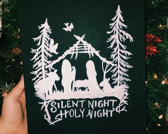 Silent Night Nativity Chalkboard Art Canvas | Christmas Decor | Mantle Decoration | Christmas Wall Decor