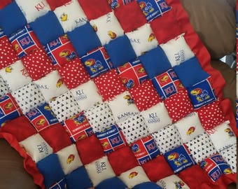 University of Kansas floor puff quilt