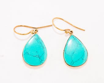Blue Turquoise Earrings, Brass Blue Turquoise Earrings, Blue Turquoise, Brass Earrings,