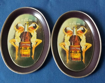 Pair Vintage Mini R.C. Cola Advertising Trays