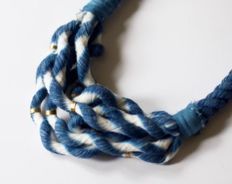 Indigo No. 1 Multi-Strand Rope Necklace with Brass Details