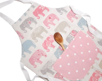 Kids Apron, Ladies Apron, Elephant Print Apron, cooking apron, womens aprons baking gifts, pinafore