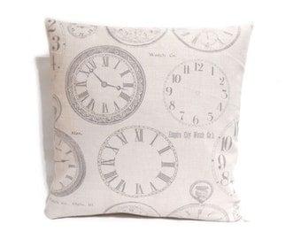 Clock Cushion Covers, Clock pillow covers, Decorative Pillow Case, Natural Beige Throw Pillow, Cushion Case, Cushions