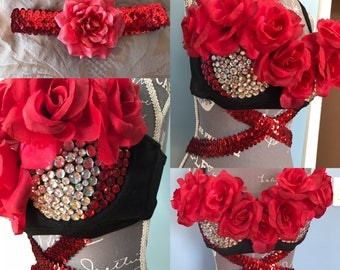 Red Rose floral and rhinestone Rave Bra with leg garter