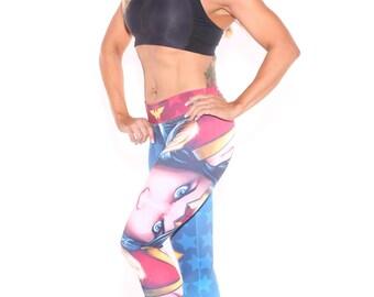 Wonder Woman Leggings, Fitness Leggings, Superhero Leggings, Women's leggings, Yoga, workout leggings, women's pants, ladies leggings