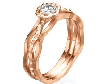 Flower ring, Floral ring, Rose ring,  Unique Engagement Ring, Diamond ring, rose gold ring, vintage ring, Unique rose ring, 14k rose ring