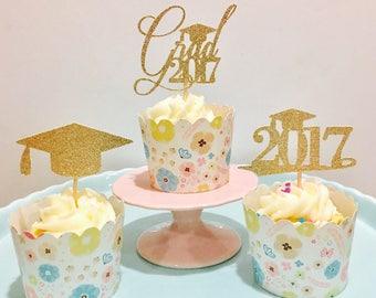 12ct graduation glitter cupcake toppers, class of 2017 cupcake topper, 2017 cupcake toppers, 2017 grad glitter cupcake topp
