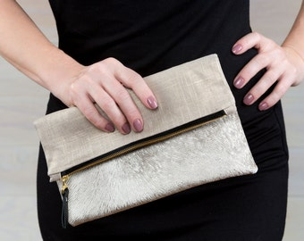 Gold Velvet Foldover Clutch, Holiday Clutch, Faux Fur Purse