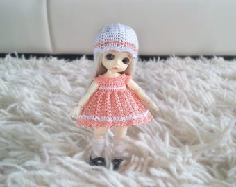 Hand knitting: Set for Lati White SP (12 см) - dress, jacket, cap