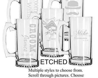 Groomsmen Gift Ideas, Groomsmen Beer Mugs, Custom Groomsmen Beer Mugs, Unique Groomsmen Mugs, Beer Mug Glasses, Etched Mugs, Personalized