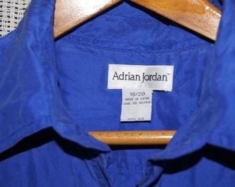 Vintage 1990's - Adrian Jordan - Blue Silk Button down Shirt - Size 18-20 -Silk Short sleeved shirt blouse