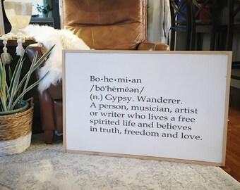 Bohemian definition framed wood sign
