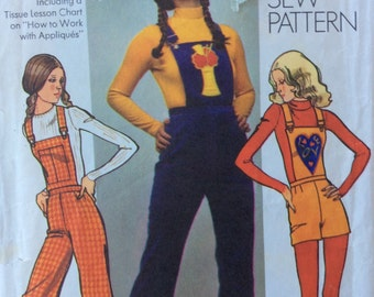 Simplicity 9573 vintage 1970's misses overalls & knickers sewing pattern size 12 waist 25 1/2