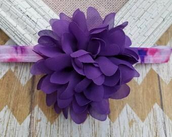 Purple tie dyed headband, purple flower headband, purple headband, boho headband, hippie headband, baby headband, girls headband, headband