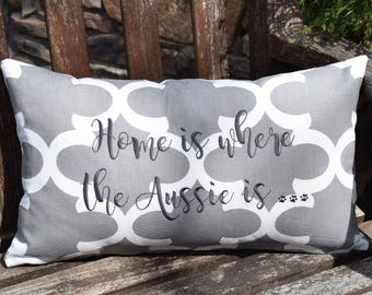 Home is Where the Rescue is Quatrefoil Throw Pillow || Accent Pillow Cover || Square Decorative Pillow by Three Spoiled Dogs