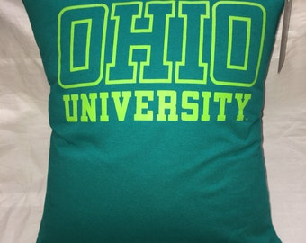 1804 Athens, Ohio university tshirt Pillow 15x16 Upcycled One of a Kind