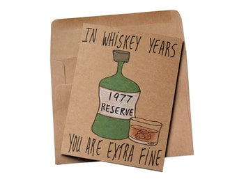 40th birthday card for brother - whiskey birthday card 1977 - born in 1977 birthday card - 40th birthday card whiskey lover funny
